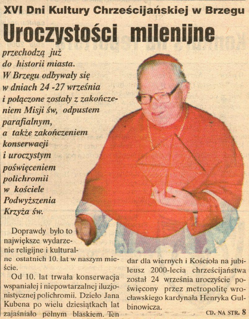 artykuł z Kuriera Brzeskiego nr 40(326) z października 2000 r.